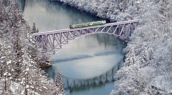 動画で国内旅行 福島県 雪景色の第一只見川橋梁 Daiichi Tadami Iron Bridge, Fukushima