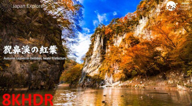 岩手県の絶景紅葉名所 猊鼻渓舟下りの紅葉 Autumn Leaves in Geibikei